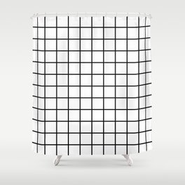 Grid Pattern Black and White Shower Curtain