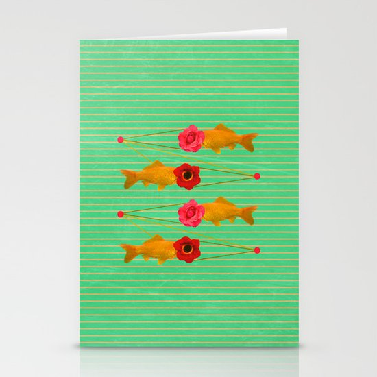 fishes and flowers Stationery Cards