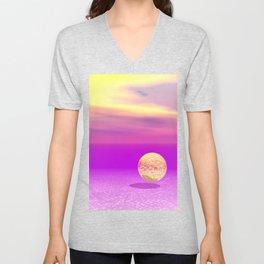 Adrift, Abstract Gold Violet Ocean Unisex V-Neck