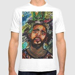 J cole,kod,album,music,rap,cole world,hiphop,rapper,masculine,cool,fan art,wall art,portrait,paint T-shirt