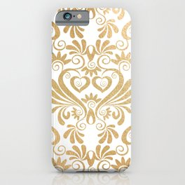 Gold foil swirls damask 14 iPhone Case