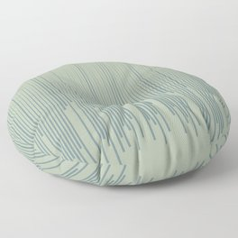 Blue-Green Frequency Line Art Pattern 2021 Color of the Year Aegean Teal and Salisbury Green Floor Pillow