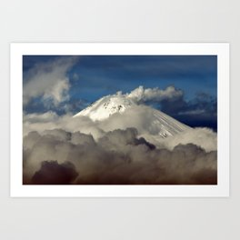 Volcanic landscape, winter view of fumaroles activity of volcano on Kamchatka Peninsula Art Print