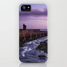River through Lynmouth Harbour under pink dawn sky. North Devon, UK iPhone Case