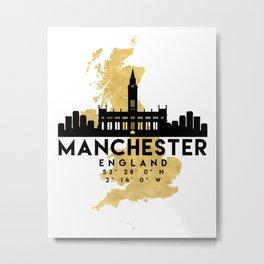 MANCHESTER ENGLAND SILHOUETTE SKYLINE MAP ART Metal Print