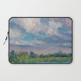 Landscape with lake, fields, forest and blue sky drawing by pastel Laptop Sleeve