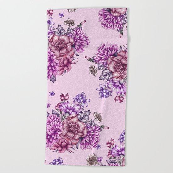 Pink Vintage Florals Beach Towel