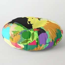 Dog with Abstract Background Floor Pillow