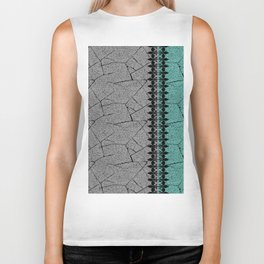 Grey , turquoise background with decorative vertical stripe. Biker Tank