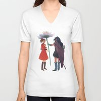 calcifer V-neck T-shirts featuring The Secret World by CromMorc