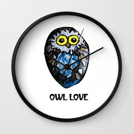 Owl Love Rock Painting on River Rock by annmariescreations Wall Clock