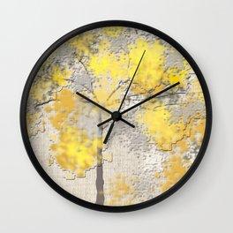 Abstract Yellow and Gray Trees Wall Clock