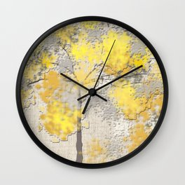 Abstract Yellow and Gray Trees Wall Clock