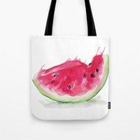 watermelon Tote Bags featuring Watermelon by Bridget Davidson
