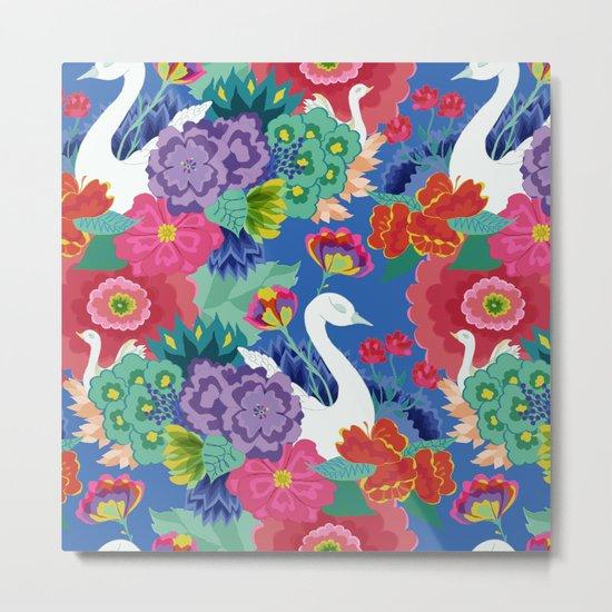 Swans & Flowers Metal Print