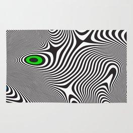 Black wavy lines color accents Rug