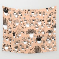 plants Wall Tapestries featuring Potted plants by Mai Ly Degnan