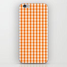Classic Pumpkin Orange and White Gingham Check Pattern iPhone Skin