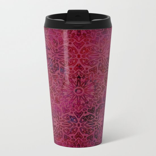 Retro Red textured oriental pattern Metal Travel Mug