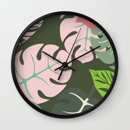 Tropical leaves green and pink paradises Wall Clock