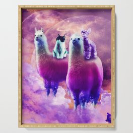 Kitty Cat Riding On Rainbow Llama In Space Serving Tray