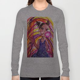 Bubble Trouble Girl Watercolor Painting Long Sleeve T-shirt