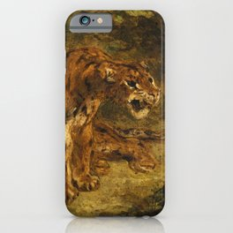 """Eugène Delacroix """"Tiger on the Look-Out or Growling Tiger"""" iPhone Case"""