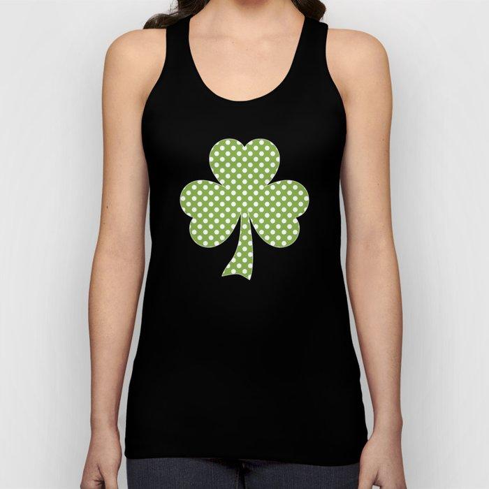 Greenery Shamrock Clover Polka dots St. Patrick's Day Unisex Tank Top