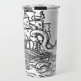 Kraken Attacking Ship Tattoo Grayscale Travel Mug