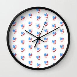 Watercolor Heart USA Wall Clock