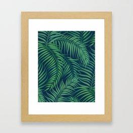 Night tropical palm leaves Framed Art Print