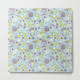 Pretty Rat and Mouse Pattern Metal Print