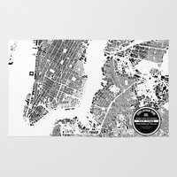 new york map Area & Throw Rugs featuring New York Map by Maps Factory