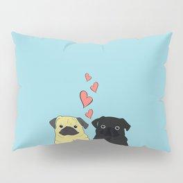 Pugs In Love Blue Pillow Sham