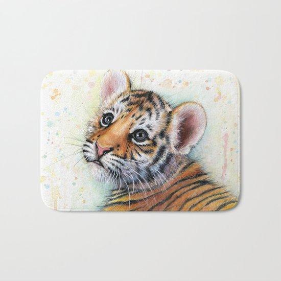 Tiger Cub Watercolor Cute Baby Animals Bath Mat