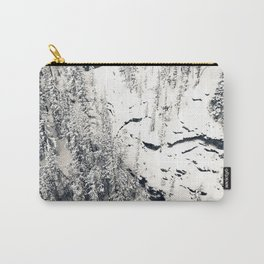 Snow on Textures of Pine Trees and Cliffs Carry-All Pouch
