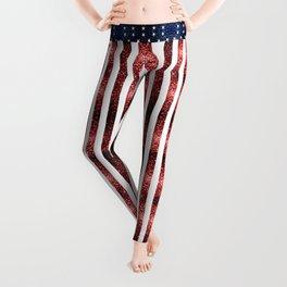USA flag red blue sparkles glitters Leggings
