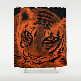 Tiger with Orange Background Shower Curtain