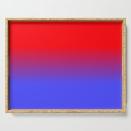 Neon Red and Bright Neon Blue Ombre Shade Color Fade Serving Tray