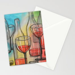 Abstract wine art / Friday Night Stationery Cards