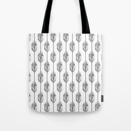 Black and White Redwood Leaf Tote Bag