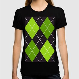 Halloween dashed argyle pattern green & black T-shirt