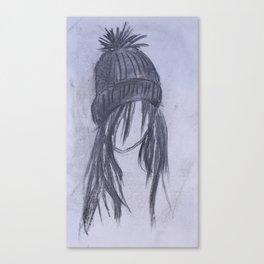 Girl with Beanie Canvas Print