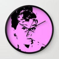 audrey hepburn Wall Clocks featuring Audrey Hepburn by Walter Eckland