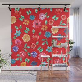 Watercolor cornflower forget-me-not, rose peony green leaves Seamless pattern on red background Wall Mural