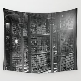 A Book Lover's Dream - Cast-iron Book Alcoves of Leather bound books Old Cincinnati Public Library Wall Tapestry