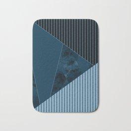 Valencia 3. Abstract, black, blue geometric pattern. Bath Mat