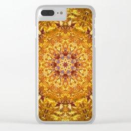 Orange Yellow chakra Print Meditation art Positive vibe Intention Symbol, Mandala yoga studio leaf Clear iPhone Case