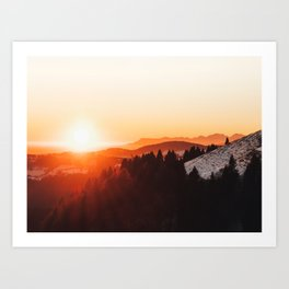 Red Orange Sunrise Parallax Mountains Pine tree Silhouette Minimalist Photo Art Print