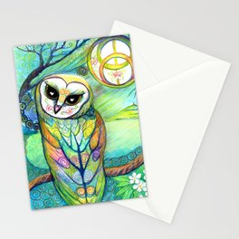 Celtic Owl Original Illustration from the Spirit Owl Series by Artist Sheridon Rayment . Stationery Cards